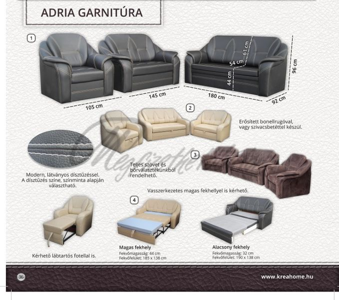Adria 3+2+1 ülőgarnitúra 2-es ágyneműtartós
