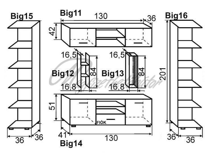 Big-Mini szekrénysor 202 cm