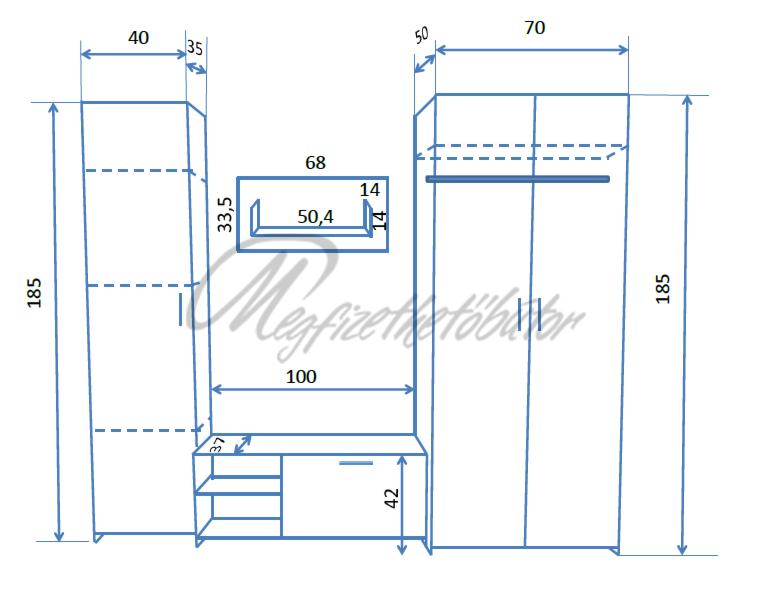 brook szekr nysor 210 cm 61 100 ft megfizethet b tor orsz gos h zhoz sz ll t s. Black Bedroom Furniture Sets. Home Design Ideas
