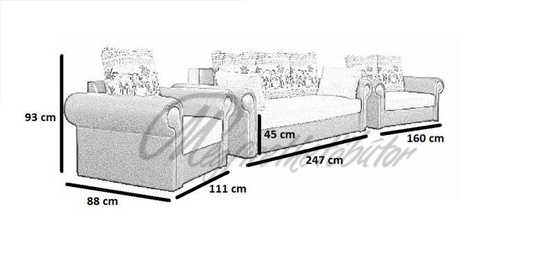 Szahara kerek-karos 3+2+1 garnitúra 2-es ágyneműtartós