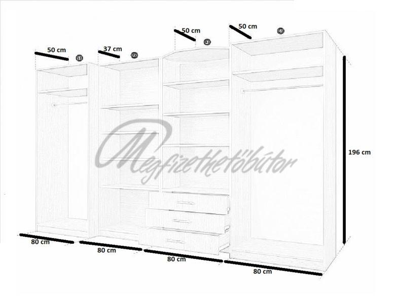 Viktória 4 elemes szekrénysor