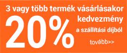 3 vagy több termék vásárlásakor 20% kedvezmény a szállítási díjból